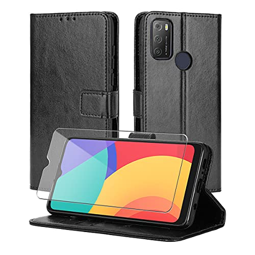 Reshias Hülle kompatibel mit Alcatel 1S 2021, Schwarz PU Leder Flip Brieftasche Handyhülle Schutzhülle mit EIN Gehärtetes Glas Schutzfolie für Alcatel 1S 2021 / 3L 2021 6.52''