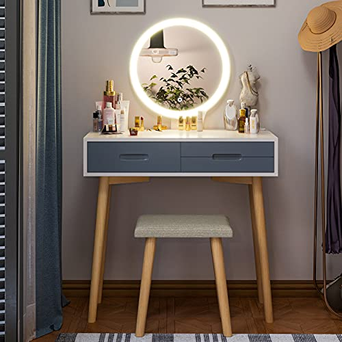 Tiptiper Schminktisch mit 3 Farb Beleuchtungsmodi | Frisiertisch mit Spiegel, Hocker, 3 Schubladen | Moderner Schminkkommode mit Beleuchtung | Frisierkommode für Damen & Mädchen & Teenager | Weiß