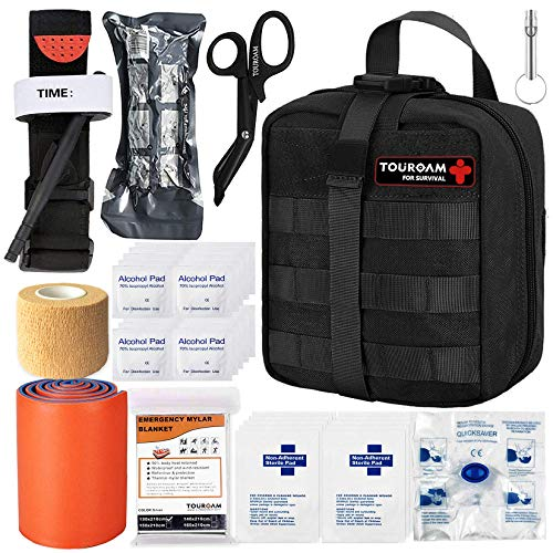 Best ifak - TOUROAM IFAK Molle Trauma Kit- Emergency Survival First Aid Kit, Military Tachtical Admin Pouch EMT, Bug Out Bag Camping Gear Supplies Hiking Car