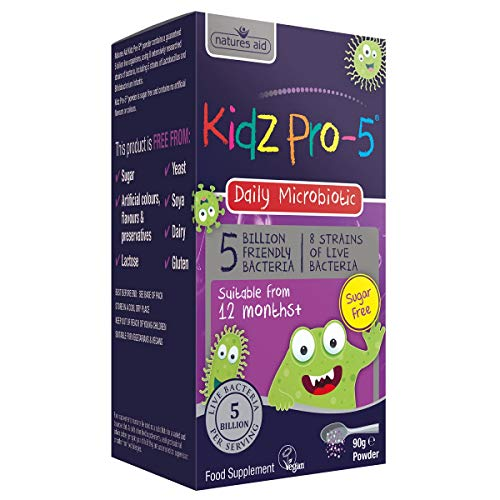 Natures Aid Kidz Pro-5 5 Billion Bacteria, Daily Bacteria for Children's Health Sugar Free, 12 months +, 90 g