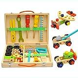 Tosbess 35 Pièces Outils et Établis pour Enfant - Boîte à Outils en Bois - Bricolage de Charpentier Jeu Dimitation pour Garçon Fille