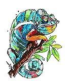 wcyljrb Kit Digital De Pintura Al Óleo Pintura Digital para Adultos Kit De Pintura Al Óleo Digital para Niños Decoración para Principiantes 16 X 20 Pulgadas (Sin Marco)-Camaleón Colorido