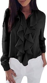 Minetom Damen Mode Langarm Bluse Elegant Rüschen Vorne Rüschung Shirt OL Business Büro Formal Tops Frauen Slim Fit Chiffon Hemd