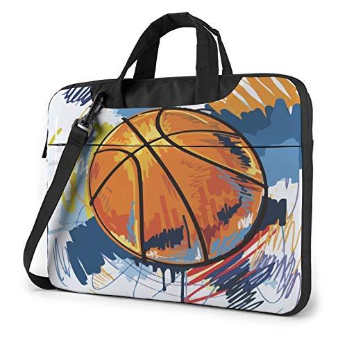 Laptop Messenger Laptop Bag Acuarela Pincel Baloncesto Art Bandolera Maletín Oficina Funda para portátil Estuche para Tableta para Hombres Mujeres
