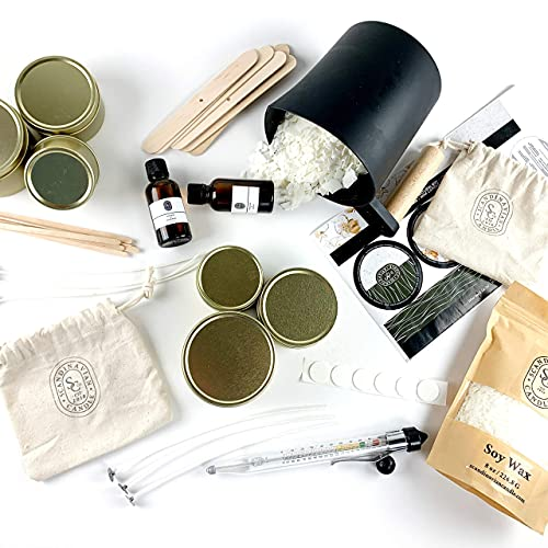 Luxury Soy Candle Making Kit for Adults - Complete Candle Making Supplies to Create 6 Premium Scented Soy Candles. The Perfect DIY Candle Making Kit for Candle Lovers.