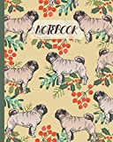 Notebook: Cute Pugs Drawing & Floral - Lined Notebook, Diary, Track, Log & Journal - Gift Idea for Boys Girls Teens Men Women (8'x10' 120 Pages)