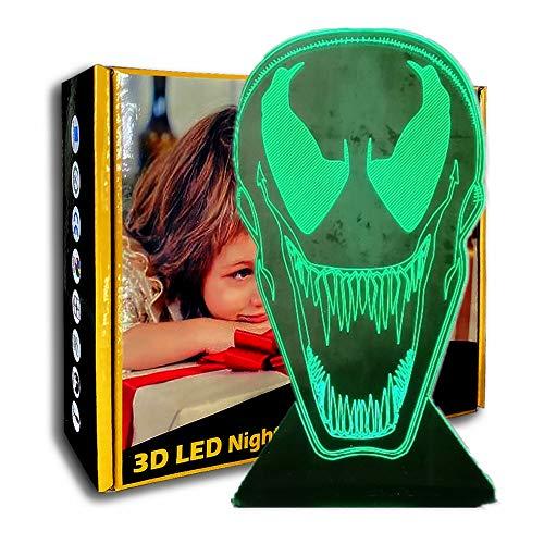KangYD 3D Nachtlicht Coole Comics, LED Schreibtischlampe, Jungengeschenk, Raumdekoration, Modernes Dekor, Tischlampe, Wohnkultur, Illusionslampe, C - Berühren Sie Crack White (7 Farben)