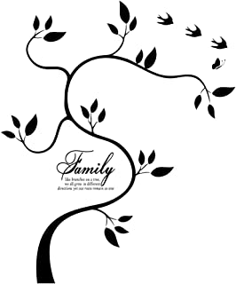 Family Tree Wall Decal Family Photo Tree Vinyl Art Home Decals Room Decor Wall Decal Stickers Living Room Bed Baby Room Wall Decals, Memory Tree and Birds, Wall Stickers,Butterfly