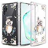 Caka Clear Case for Galaxy Note 10 Plus Floral Clear Case Flower Pattern Girly Slim Anti Scratch Excellent Grip Premium Soft TPU Protective Case for Galaxy Note 10+ 10 Plus 5G (Owl)