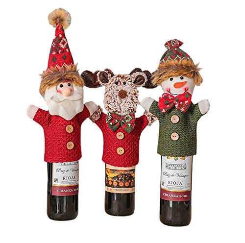 keepmore 3PCS Christmas decoration imitation knitted cloth wine cover old man snowman elk home restaurant wine bottle cover decoration supplies