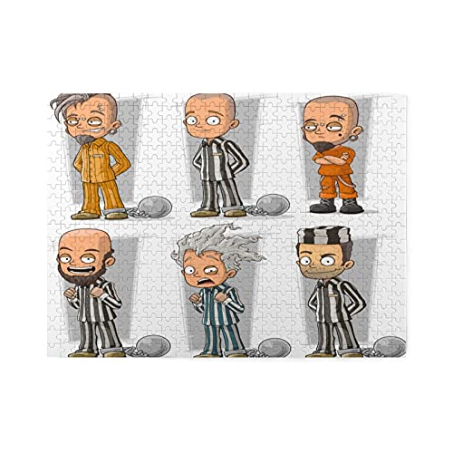 Rompecabezas de 500 piezas,dibujos animados divertidos prisioneros en bata con personaje de cadenas de metal,juego de rompecabezas familiar grande,ilustraciones para adultos y adolescentes