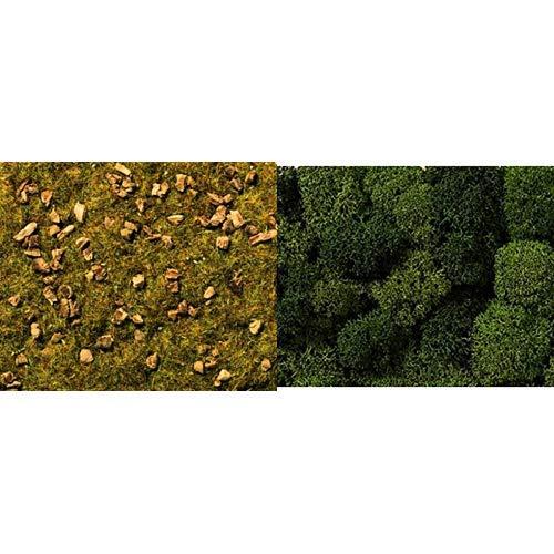 NOCH 08360 - Spielwaren, Streugras Steinige Bergwiese, 2.5 mm &  08610 - Spielwaren, Dekormoos, hell und dunkelgrün, Sortiert