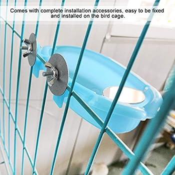 Baignoire Perroquet Boîte de Douche de Bain d'oiseaux avec Miroir Baignoire Suspendue Jouet Accessoire de Cage à Oiseaux (Bleu)