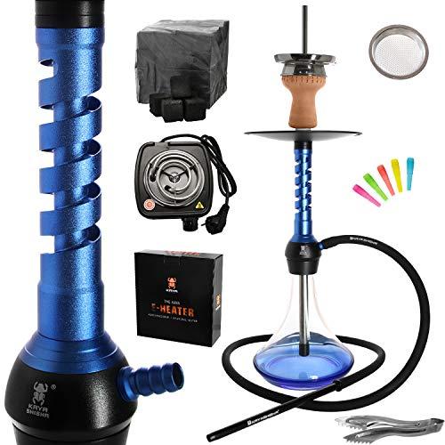 Kaya Elox Eco Wrap - Shisha (62 cm, pipa de agua, aluminio, 1 conector, incluye encendedor de carbón eléctrico, 1 kg de carbón y accesorios), color azul