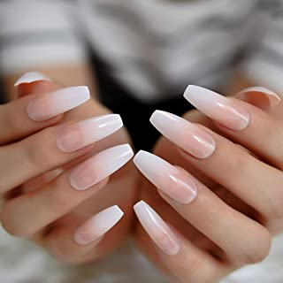 CoolNail Ombre Gradient Pink Nude White French Ballerina Press on False Nails Extra Long Natural Coffin UV Gel Glue On Fingers nails