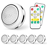 Led Puck Lights,Wireless Under Cabinet Lighting,Battery Powered Touch Night Lights Under Counter Lights,Led Closet Lights Battery Operated with Remote Control Dimmer & Timing Function,6 Pack