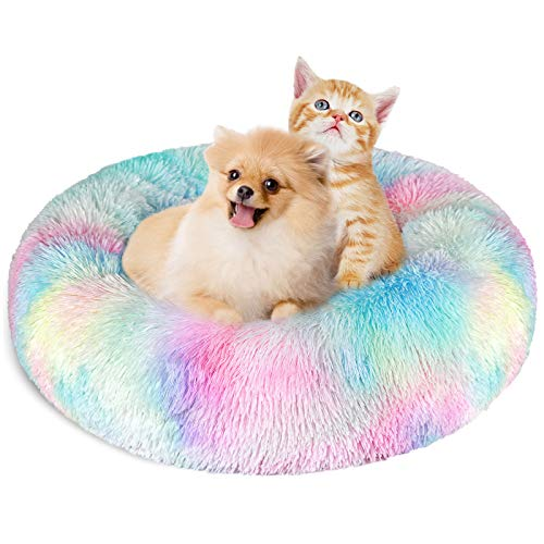 KROSER Hundebett Rundes Plüsch Katzenbett Weiches Waschbares Welpenbett Schöne Tierbett für klein Hund und Katzen Deluxe Haustierbett 60cm-Bunt MEHRWEG