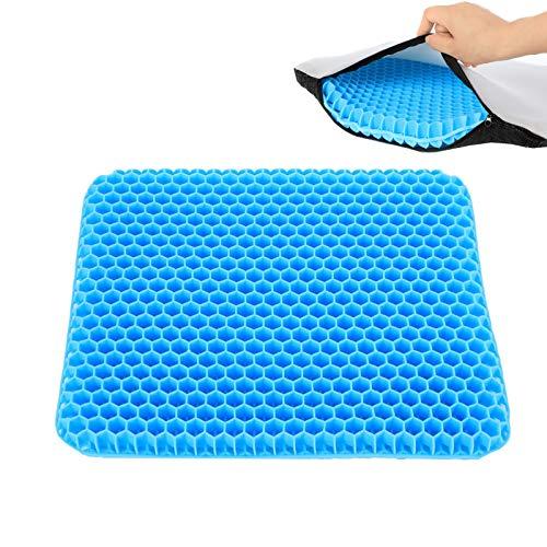 Jsdoin Cojín de gel de doble capa de cojín grueso y transpirable cojín de gel fresco, alivia el dolor para sillas de oficina en casa, sillas de ruedas de coche, con funda antideslizante (azul oscuro)