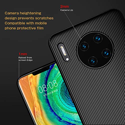 A-VIDET Hülle für Huawei Mate 30 Pro,Ultradünnes Silikon Mattierte Softschale Rundumschutz Anti-Fall Anti-Fingerabdruck Gehäuse Einfache Rückenschutzhülle für Huawei Mate 30 Pro (Schwarz) - 3