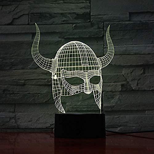 Luz nocturna 3D ilusión Luz de Noche Viking helmet Ilusión Lámpara de mesa Luces con para la decoración del partido Presentes de cumpleaños Con carga USB, control táctil de cambio de color col
