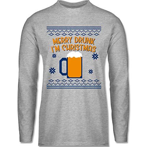 Weihnachten & Silvester - Ugly Christmas Merry Drunk I'm Christmas - XXL - Grau meliert - Ugly Christmas Herren - BCTU005 - Herren Langarmshirt