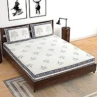 BLOCKS OF INDIA Hand Block Printed 300 TC Cotton King Size Bedsheet (Grey Tree,Floral )