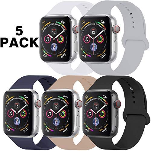GZ GZHISY Pack 5 Sport Bands Compatible for Apple Watch Band 38mm 40mm, Soft Silicone Band Sport Strap Compatible for iWatch Series 5/4/3/2/1 (White/Gray/Black/Midnight Blue/Walnut, S/M)