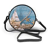 BAODANLA Bolso redondo mujer Shoulder Bags Women Round Bags Marine Life Decoration and On Wooden Shabby Background Crossbody Leather Circle Bag