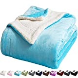LBRO2M Sherpa Fleece Bed Blanket Queen Size Super Soft Fuzzy Plush Warm Cozy Fluffy Microfiber Couch Throw Velvet Double Reversible Luxurious Blankets,Teal