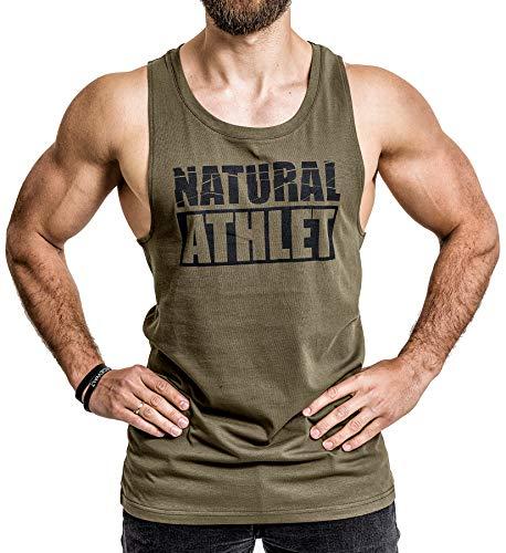 NATURAL ATHLET Herren Muskelshirt in Olive I Männer Shirt aus Baumwolle mit Rundhals Ausschnitt I Tank Top ideal für Sport, Fitness, Gym und Bodybuilding XL