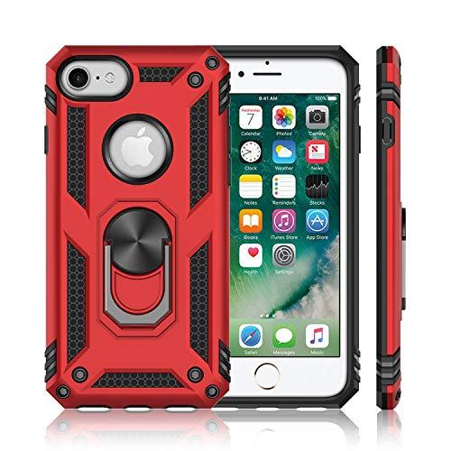 iphone7 ケース iphone8 ケース スマホケース リング 耐衝撃 頑丈 アウトドア 旅行 オフィス 室内 用 TPU+PC スタンド機能付き 二重構造 バンパー オシャレ 人気 ユニーク ファッション バンパーケース 携帯カバー 耐摩擦 レッド