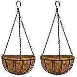 ZZM Growers Hanging Planter Flower, cestino, buccia di fibra di cocco, vaso di fiori decorativo ferro cestino da appendere con vaso portafiori per interni casa giardino balcone decorazione nero