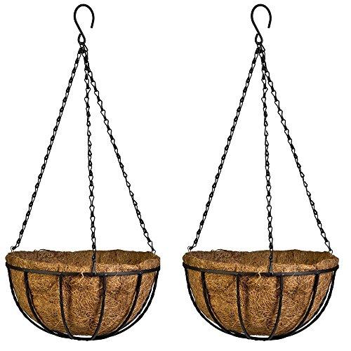 Wankd Blumenampel Kokos,Blumenampel 2 Körbe, Kokos, Große Liter Volumen, mit Kette, 10inch Durchmesser als Hängeampel, braun