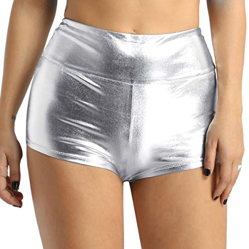 Agoky Damen Shorts Metallic Hot Pants Leder-Optik hoch taillierte Bikini Minishorts Sport Fitness Tanz Badehose Glänzend Booty Panty Silber M