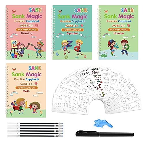 Anyingkai Libro Mágico Reutilizable,Pasta de Escritura Magica,Cuadernos Reutilizables de Caligrafía Mágica,Juego de Cuaderno de Escritura a Mano,Libro Mágico Reutilizable