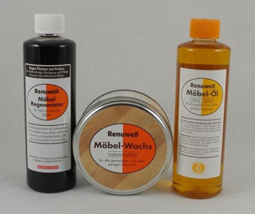Renuwell Spar-Set Möbel Öl 500 ml + Regenerator 500 ml + Möbel-Wachs 500 ml