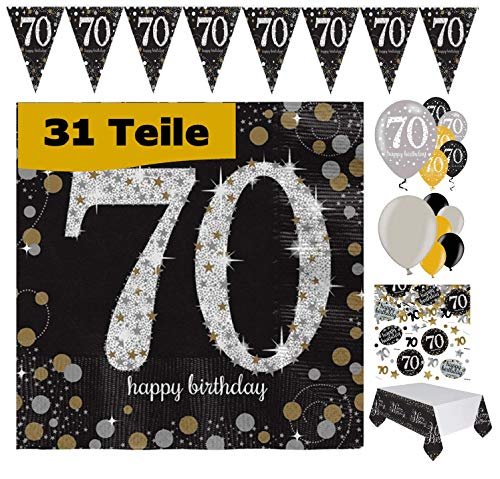 Feste Feiern Geburtstagsdeko 70. Geburtstag 31 Teile Deko-Set Luftballon Wimpel Girlande Konfetti Serviette Tischdecke Gold Schwarz Silber metallic Party-Set