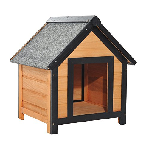 Niche pour chien 56 x 60,5 x 66 cm en bois de sapin verni toiture gris avec toit et 4 pieds antidérapants