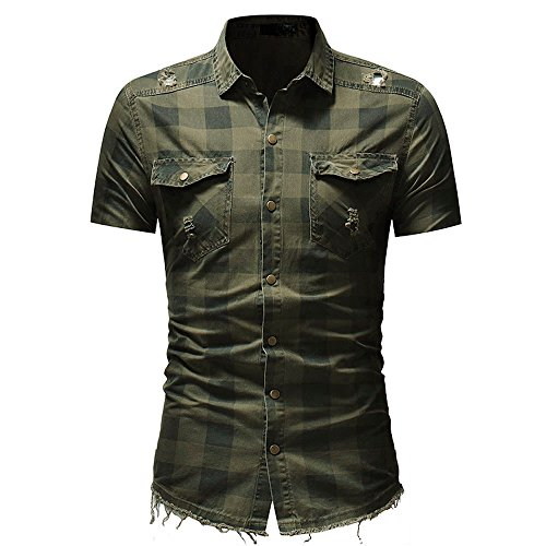 Men's Short Sleeve Tee Tops Slim Fit Button Turn Down Plaid Shirt with Pocket T-Shirts Blouse (L, Army Green)