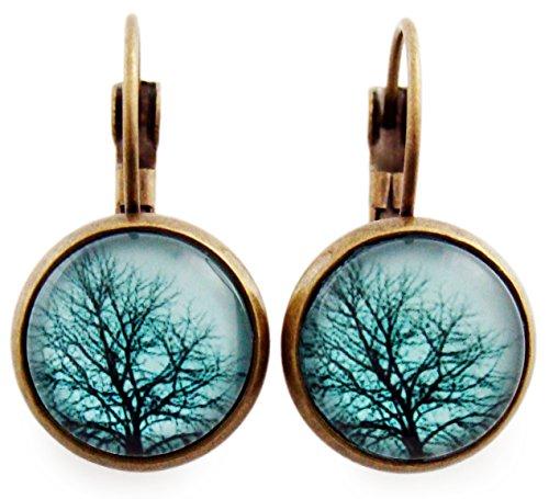 Ohrhänger Hängend Ohrstecker Damen Baum Natur Ohrschmuck Cabochon Rund 12mm Frauen Mutter Schwester Modeschmuck Blau Bronze