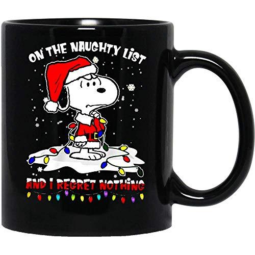 N\A #Snoopy en The Naughty List y no me arrepiento de Nada Santa Claus Christmas Snow Taza de café Divertida para Mujeres y Hombres Tazas de té