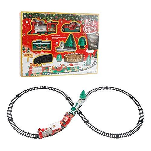 funihut Musikalischer Zug mit Licht + Weihnachtsmann Kutsche + Waggon + Schiene - Weihnachtselektrisches kleines Zug-Spielzeug für Kleinkinder (22-teiliges Set)