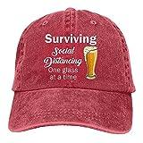 Sobrevivir Social Distancing One Glass at A Time Funny Beer Gorra De Béisbol Hombres Ajustable Snapback Gorra Clásico Rojo