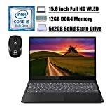 Premium 2020 Lenovo Ideapad S340 Laptop, 15.6' Full HD Display, 8th Gen Intel Quad-Core i5-8265U (Beat i7-7500U), 12GB DDR4 512GB SSD, BacklitKB USB-C WiFi Dolby Audio Win 10 + ePark Wireless Mouse