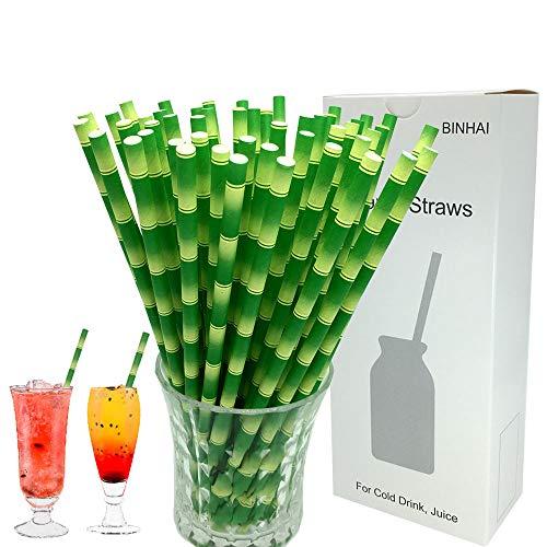 Pajitas de papel de bambú verde, 100 unidades con embalaje reciclado biodegradable para decoración de pajitas a granel para uso diario, boda, celebración, bricolaje