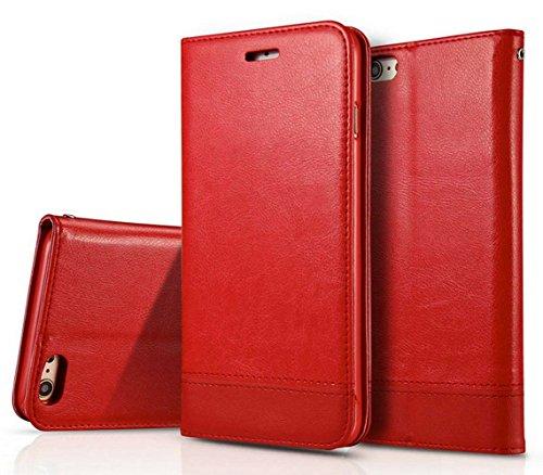 Dfly, custodia per smartphone, custodia a libro in ecopelle (PU) con doppio lato magnetico rosso Red iPhone SE / 5S / 5