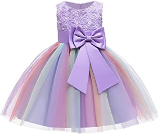 OBEEII Little Big Girl Flower Tutu Dress Summer Sleeveless 3D Rose Bow Rainbow Gown