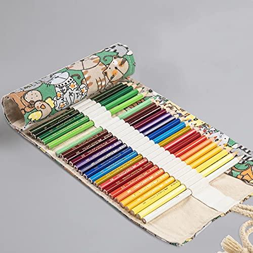 CNYG Estuche para lápices – 24/48/60/72 agujeros para lápices enrollables de colores, organizador de rollo, estuche para lápices, para viajes, escuela, oficina, 82 x 20 cm