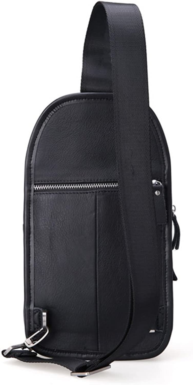 AFCITY Mnner Leder Chest Bag Crossbody Umhngetasche Messenger Bag Daypack für Business Casual Reisen Schwarz Sling Brusttasche