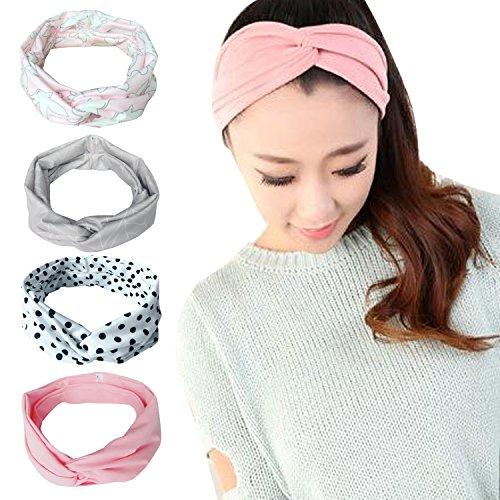 Vellette Haarreife Damen Stirnband Kopfband Stirnbänder Haarspange Haarband Headband elastische Blume gedruckt Sportliche